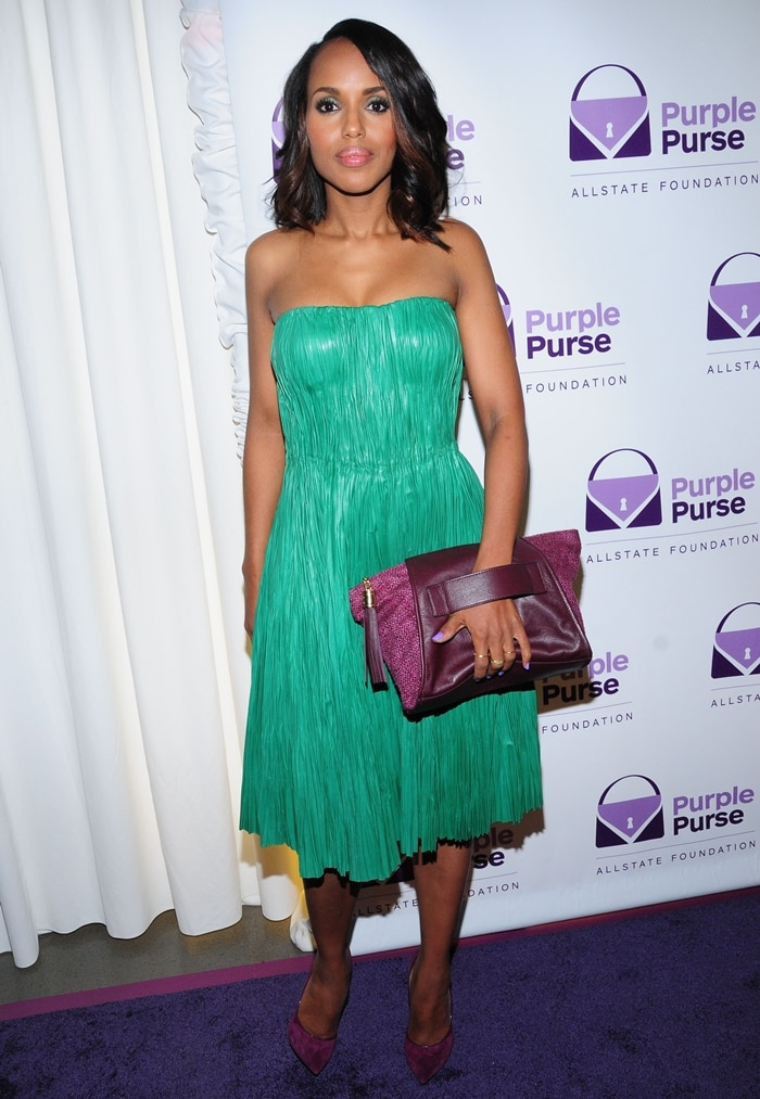 Kerry Washington hosting the launch event for the 2014 Allstate Foundation Purple Purse Program in New York on September 15, 2014