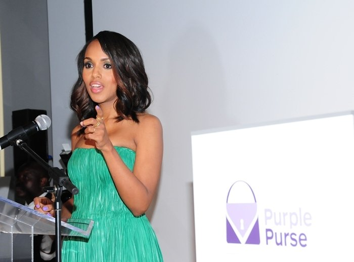 Kerry Washington attended the launch of Allstate Foundation's Purple Purse Program