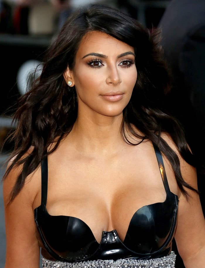 Kim Kardashian'sblack latex bustier-style bodysuit by Atsuko Kudo