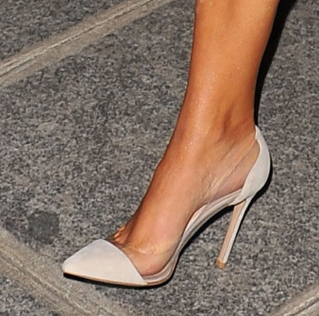Kim Kardashian wearing Gianvito Rossi pumps