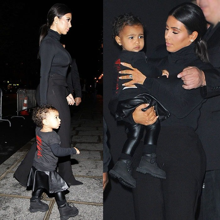 Kim Kardashian and North West in matching all-black outfits