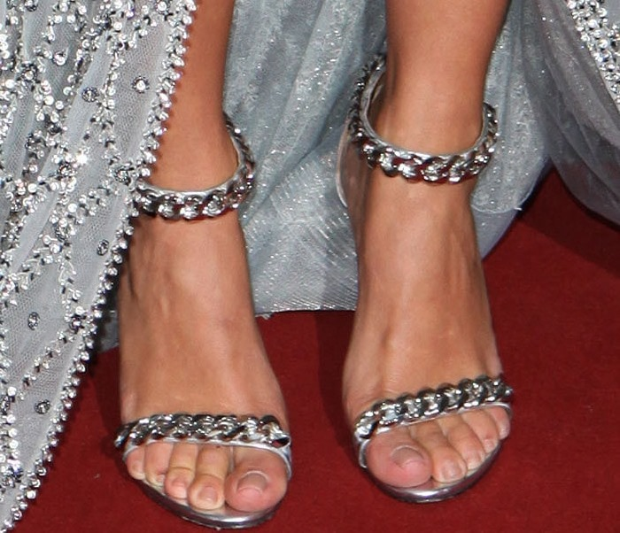 Kim Kardashian's feet inembellished Tom Ford sandals
