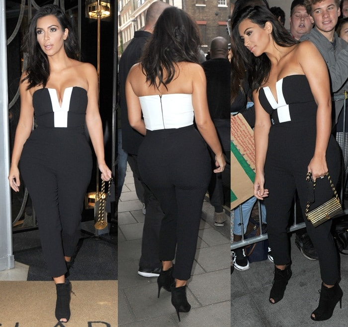 Kim Kardashiancarried a vintage gold YSL tassel clutch and completed the outfit with a pair of ankle boots from Tom Ford