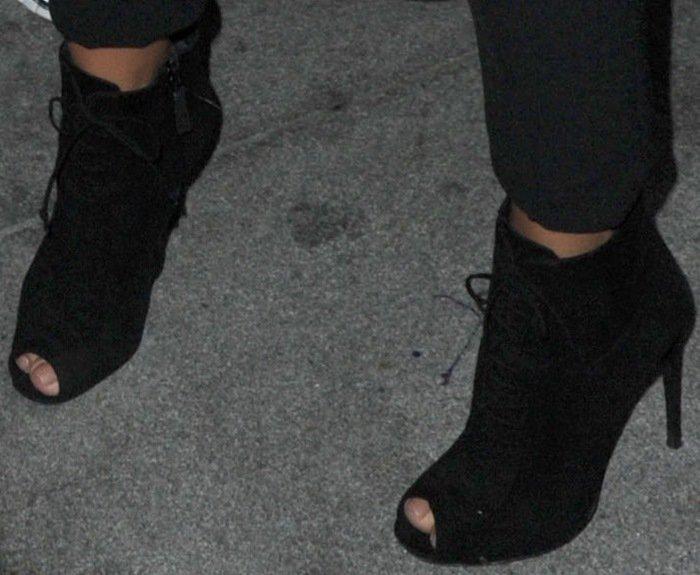 Kim Kardashian wearing Tom Ford peep-toe booties