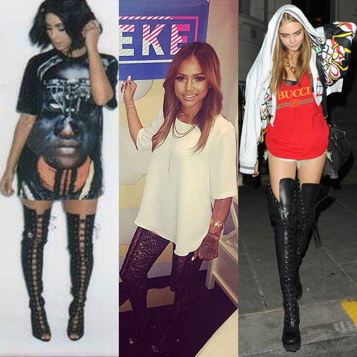 Kim Kardashian's Instagram pic from her Hype Energy USA shoot posted on August 18, 2014; Karrueche Tran's Instagram pic from her guesting on the Just Keke show posted on July 9, 2014; Cara Delevingne heading to a house party at a private residence in Notting Hill, London, England, on February 16, 2013