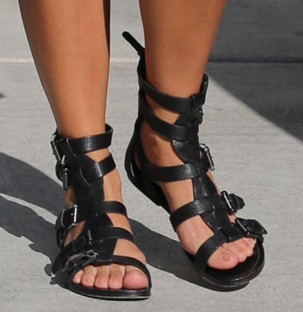 Kourtney Kardashian wearing Belle by Sigerson Morrison gladiator sandals