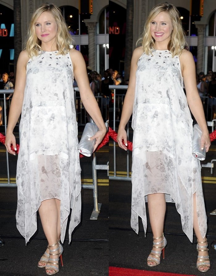"""Kristen Bell in a sleeveless """"Maylie"""" dress by Elizabeth and James"""