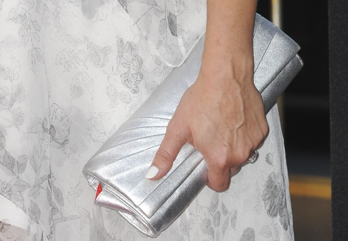 Kristen Bell'ssilver Christian Louboutin clutch