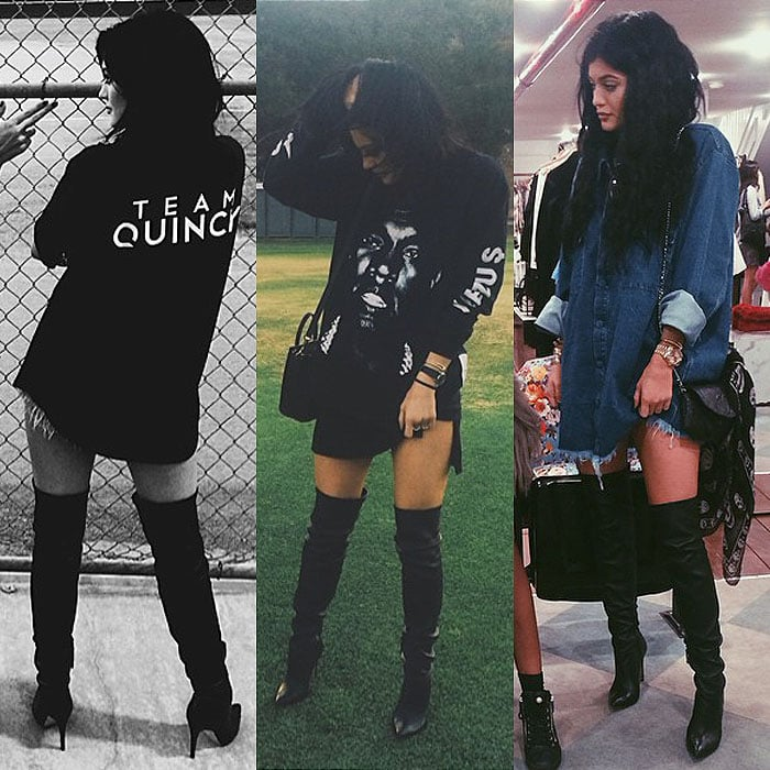 Kylie Jenner wearing oversized tops with thigh-high boots in Instagram snaps posted on July 20, August 8, and September 6, 2014