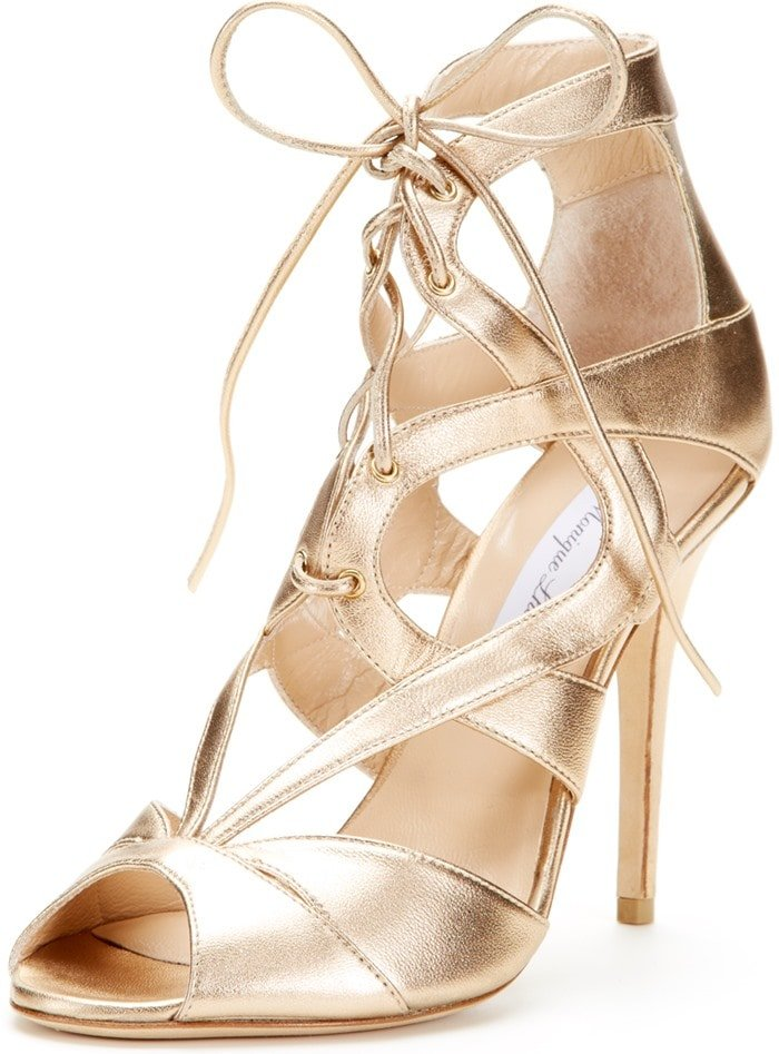 Monique Lhuillier Lace-Up Cross-Over Sandals