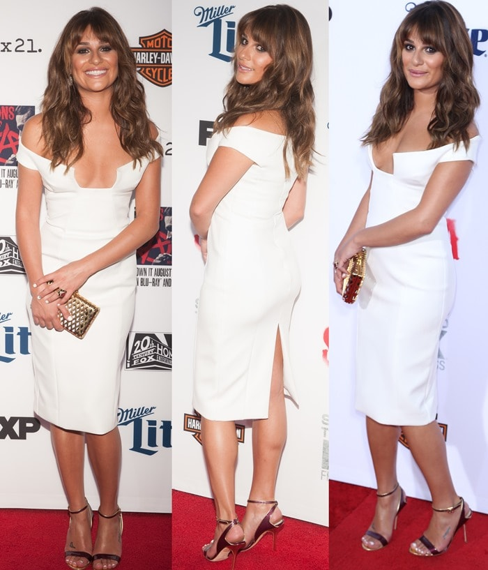 Lea Michele carried a gold metallic Reese Hudson clutch and completed the outfit with a pair of strapped Pollini heels