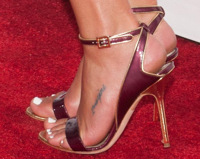Lea Michele showing off her feet in Pollini heels