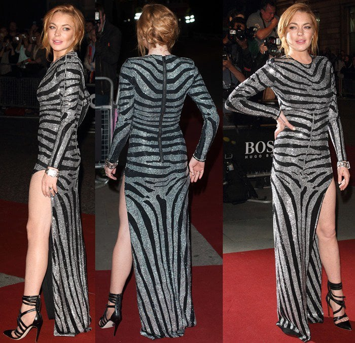 Lindsay Lohan in a sparkling £3,550 gown by Balmain, which was encrusted with diamantés that take the form of wild zebra stripes
