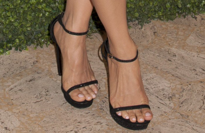 "Lucy Liu showing off her feet in black Saint Laurent ""Jane"" ankle-strap sandals"