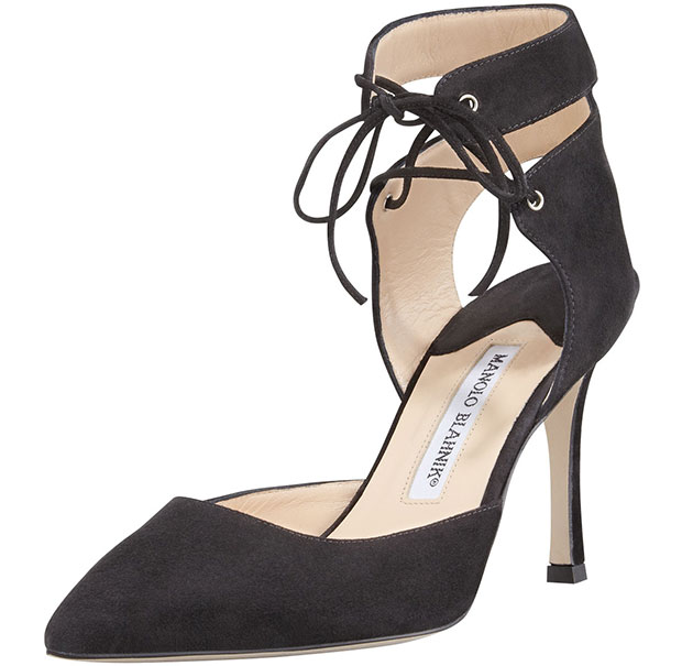 Manolo Blahnik Lara Suede Laced-Ankle Pumps