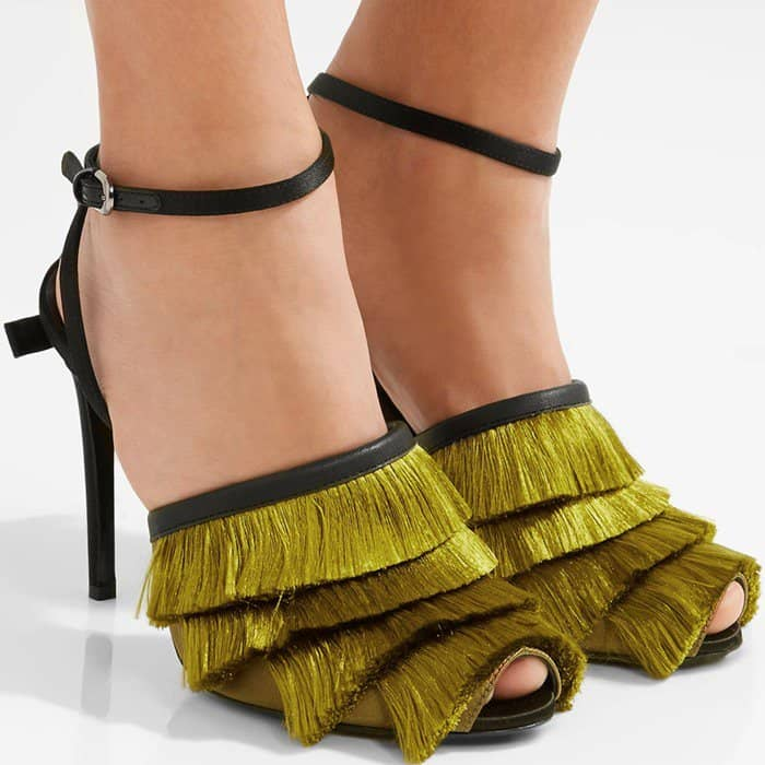 Marco De Vincenzo Leather-Trimmed Fringed Satin Sandals