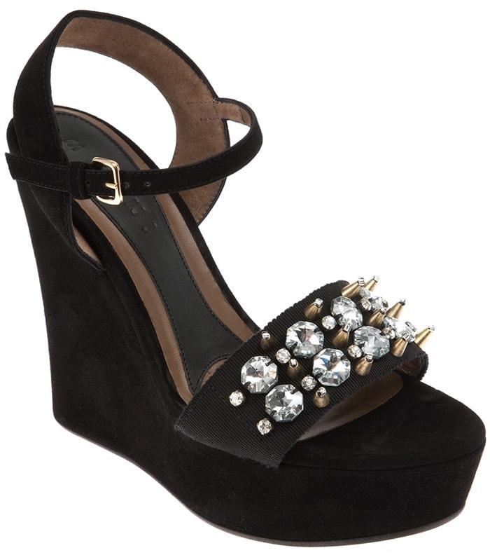 Marni Black Wedge Embellished Sandal