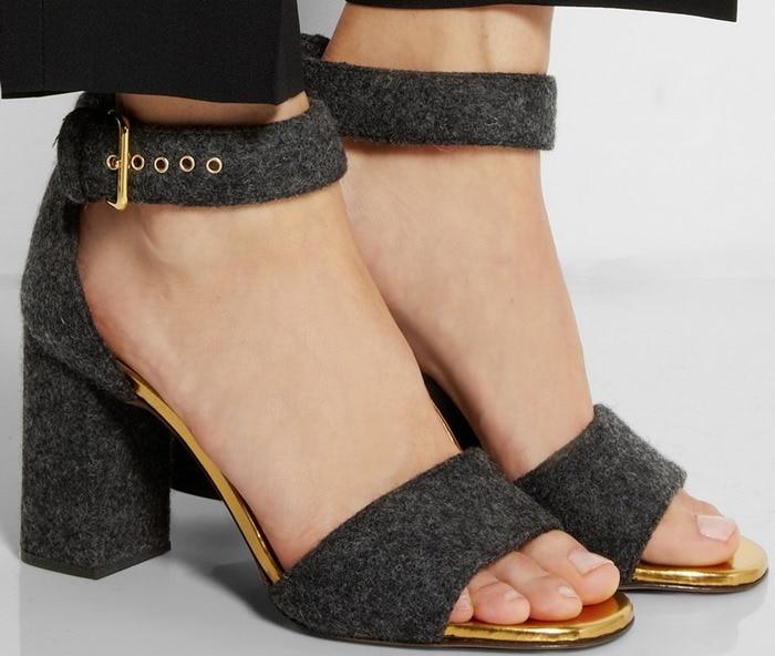 Marni Leather-trimmed felt sandals