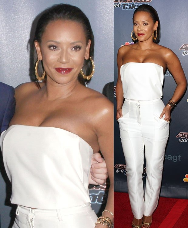 Mel B wearing Sally Lapointe and gold heels at the 'America's Got Talent' finale in New York City on September 17, 2014