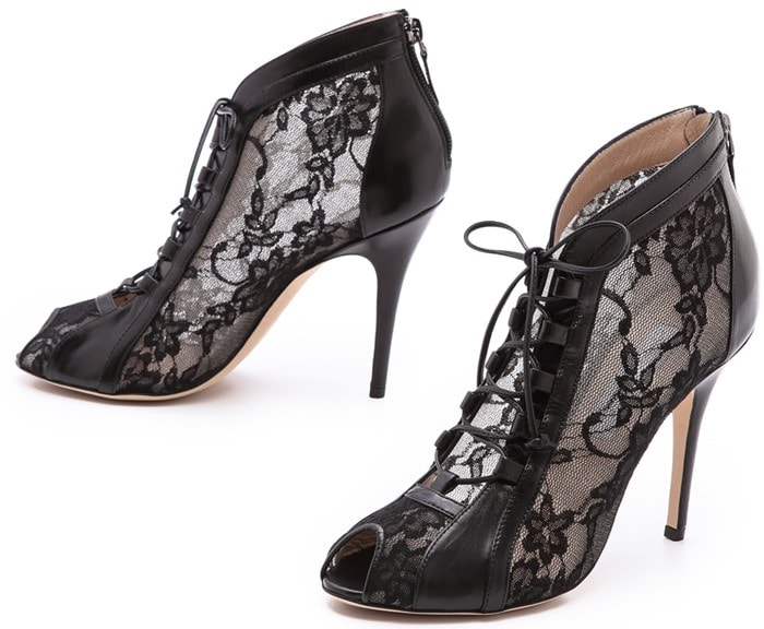 Monique Lhuillier Black Lace Up Booties