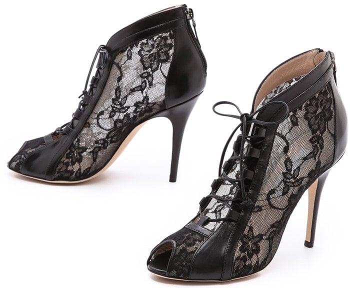 Monique Lhuillier Black Lace Up Booties