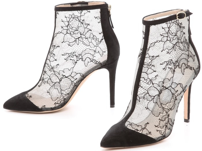 Monique Lhuillier Nicole Lace Booties Black Suede