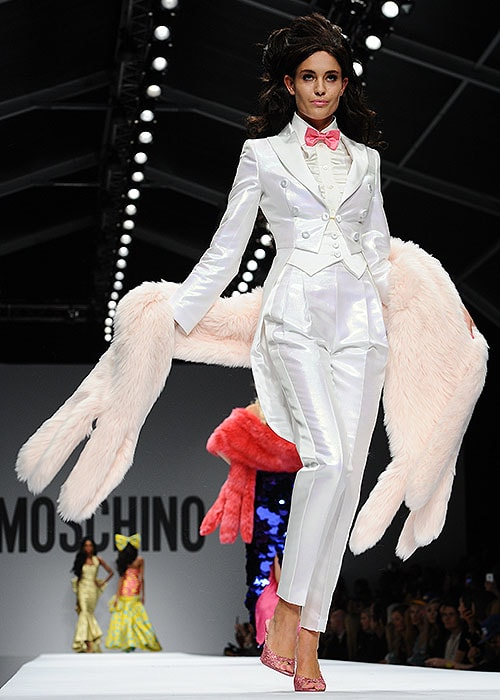 Barbie-inspired looks from the Moschino spring 2015 fashion show presented during Milan Fashion Week Spring/Summer 2015 in Milan, Italy, on September 18, 2014