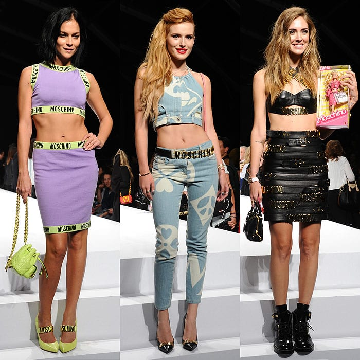 Front row at the Moschino Spring 2014 show: Leigh Lezark, Bella Thorne, and Chiara Ferragni
