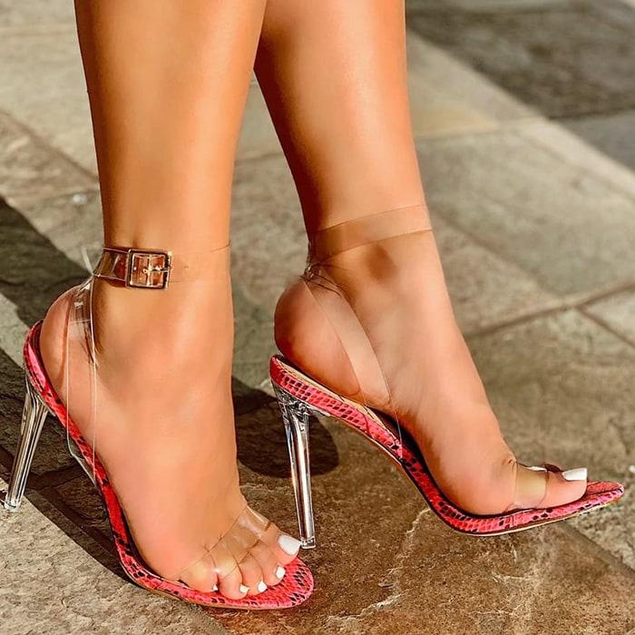 Neon Fuchsia Snake Print Clear Strappy High Heels