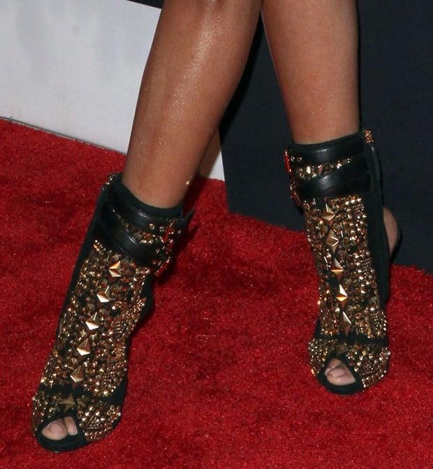 Nicki Minaj wearing Giuseppe Zanotti embellished boots