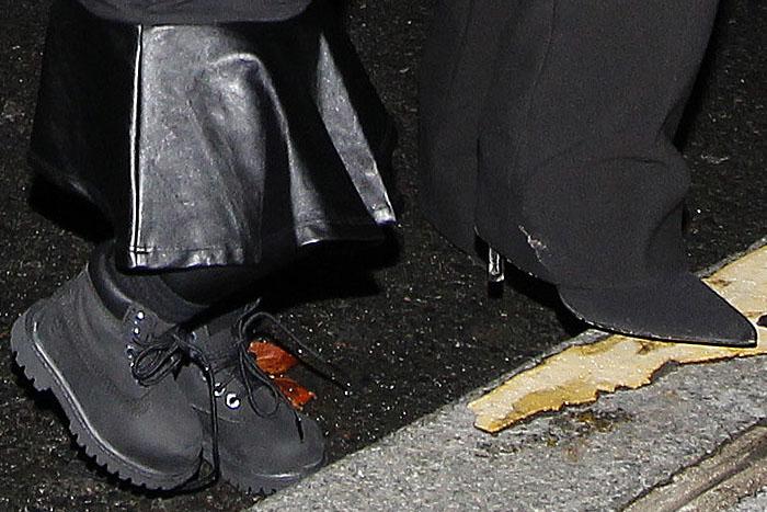 Closeup of North West's and Kim Kardashian's shoes at the Balenciaga Spring/Summer 2015 fashion show
