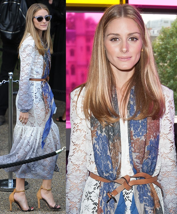 Olivia Palermo accessorized with a multicolored printed scarf and a brown leather belt that was tied into a knot