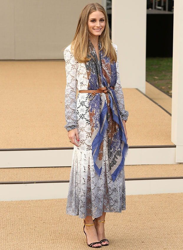 Olivia Palermo at the Burberry fashion show during London Fashion Week in London, England, on September 15, 2014