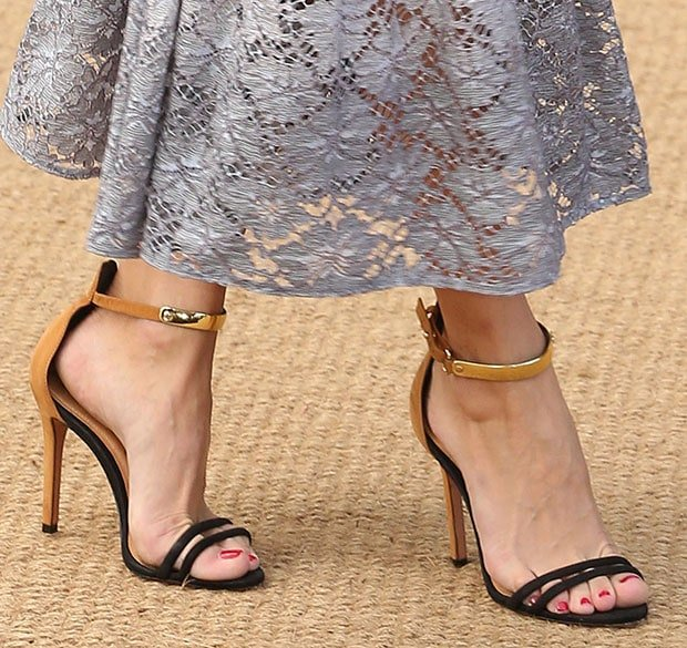 "Olivia Palermo wearing Schutz ""Celina"" sandals in tan and black"