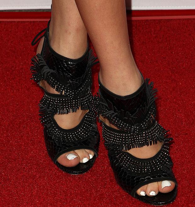 Peyton List rocking Aquazzura Sexy Thing fringe sandals