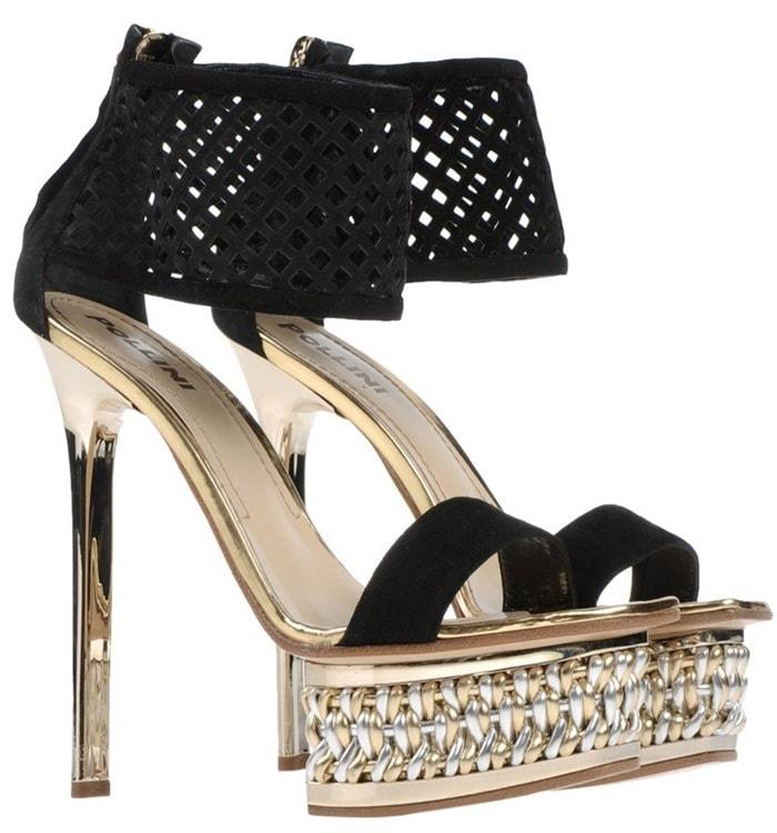 Pollini Black High-Heel Platform Sandals