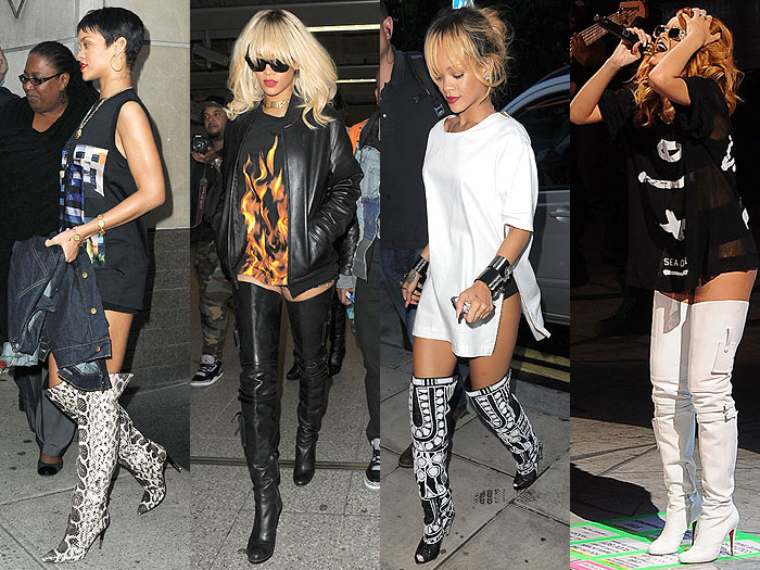 Rihanna wearing oversized t-shirts with thigh high boots