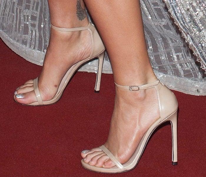 "Rita Ora's feet innude leather ""Nudist"" sandals by Stuart Weitzman"