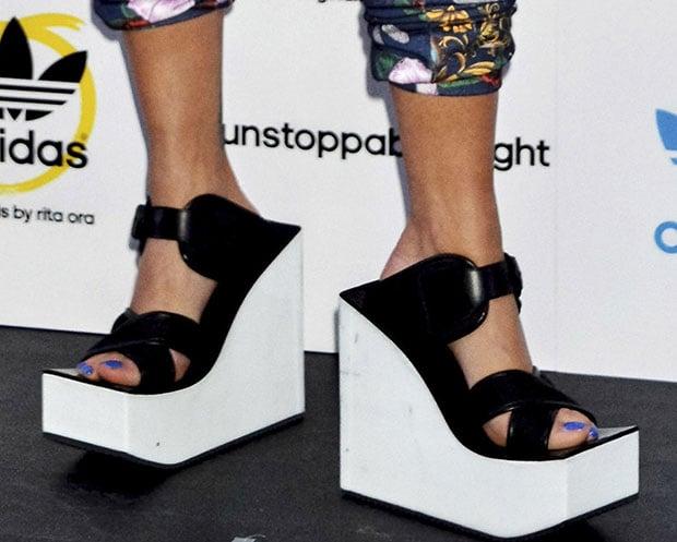 Rita Ora's geta-inspired wedge sandals