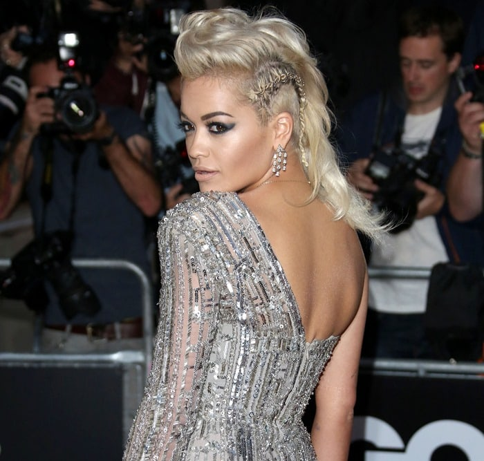 Rita Ora ina glamorous one-shoulder gown from the Zuhair Murad Fall 2014 Couture collection