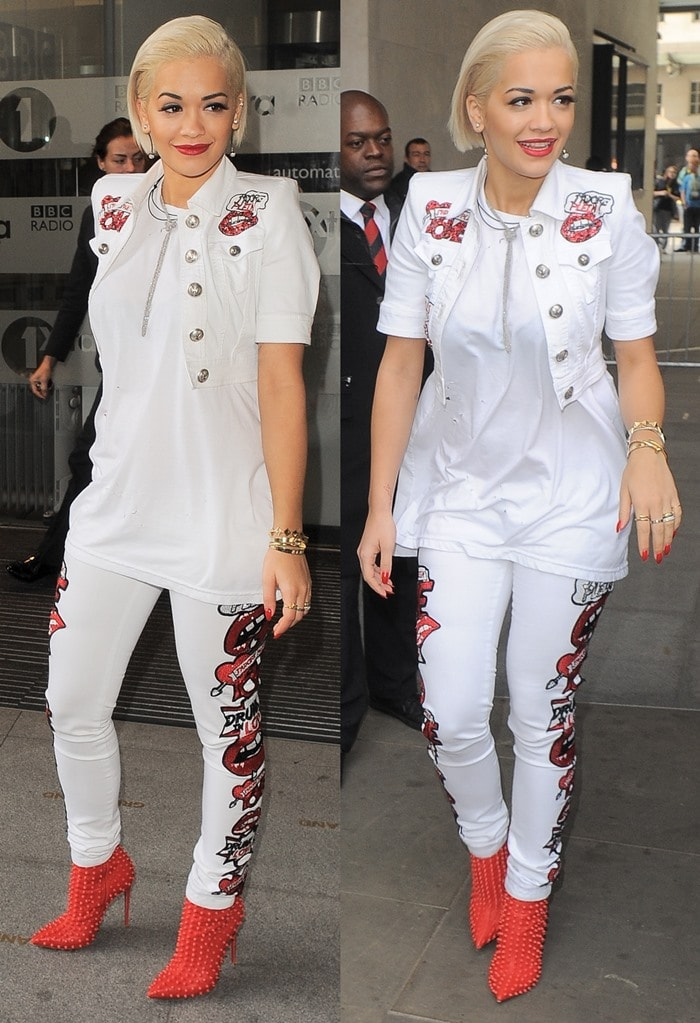 Rita Ora rockeda lip-embroidered crop top paired with jeans