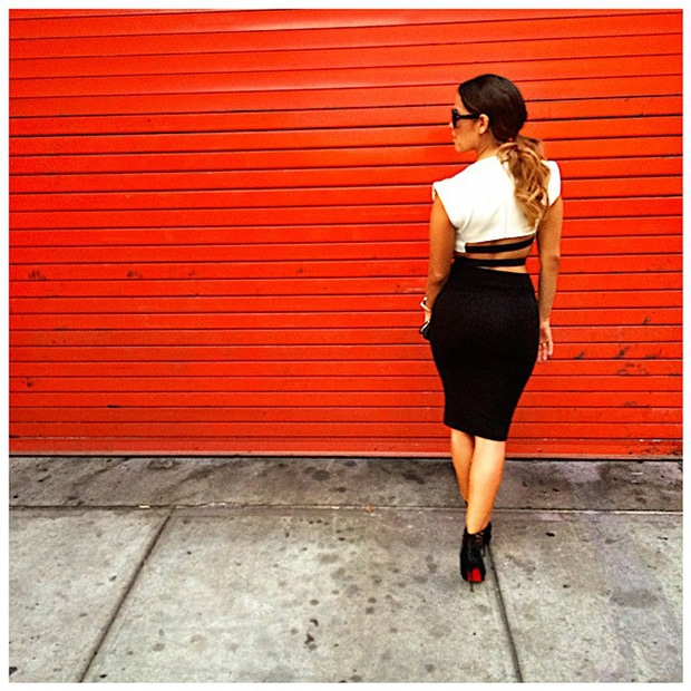 Rocsi Diaz in a black-and-white Barbara Bui dress featuring cutout details at the sides and back