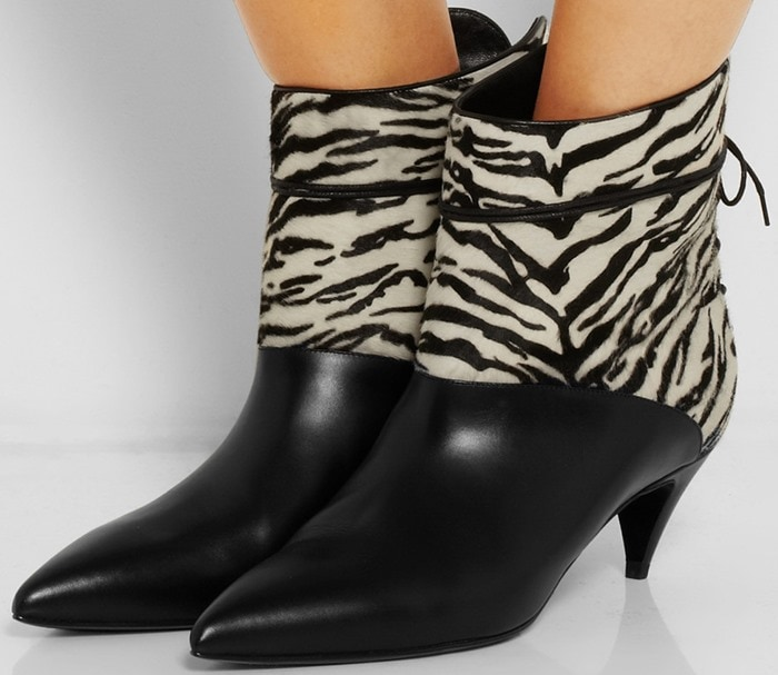 Saint Laurent Cat zebra-print calf hair and leather ankle boots