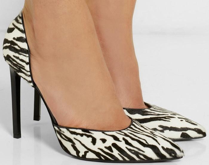 Saint Laurent Paris zebra-print calf hair pumps