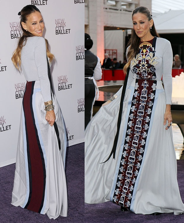 Sarah Jessica Parker in a grandiose floor-length number from Mary Katrantzou's Fall 2014 collection