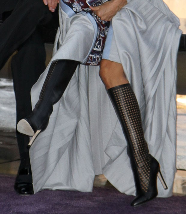 Sarah Jessica Parker wearing knee-high boots from her own collection