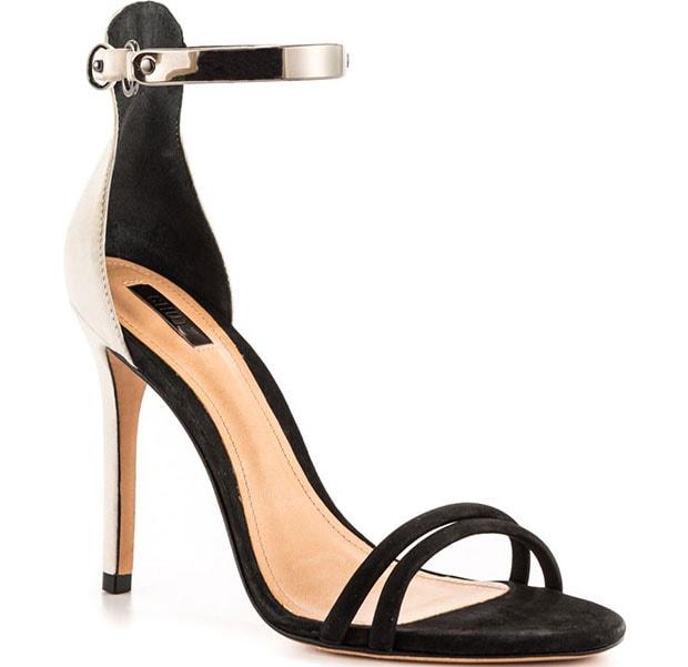 Open-toe Schutz Celina sandals, constructed in supple suede