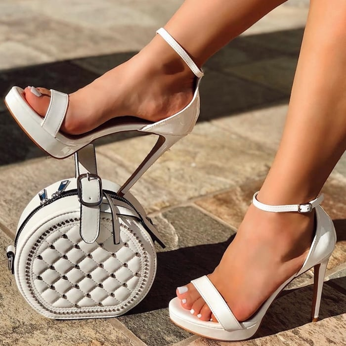 Sexy White Open Toe Platforms High Heels Patent
