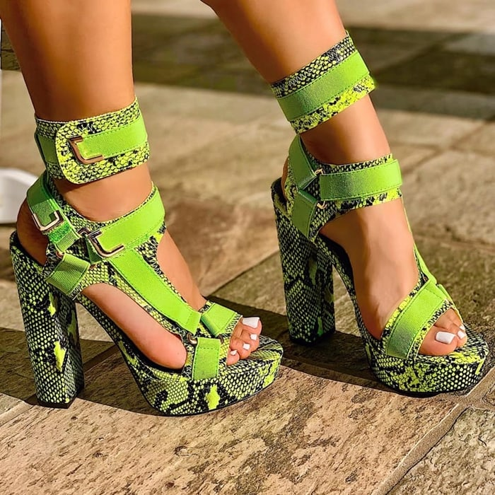 Snake Green Cut Out Chunky Heels