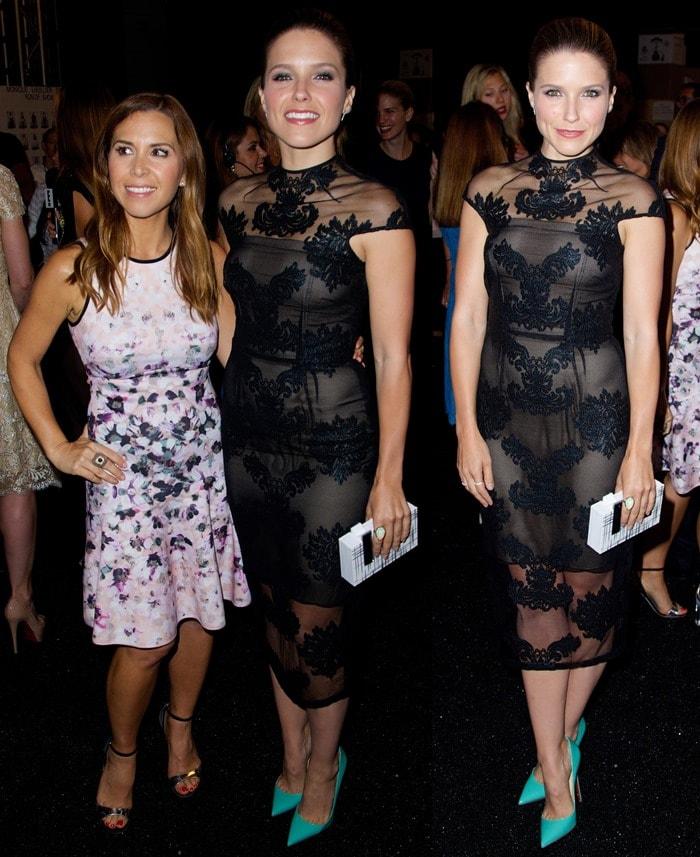 Sophia Bush and Monique Lhuillier pose backstage at the Monique Lhuillier fashion show